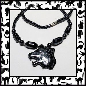 Unisex Wolf Necklace with Hematite Stone Beads